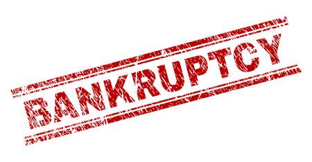 BANKRUPTCY-Siegeldruck mit Grunge-Textur. Roter Vektorgummidruck des BANKRUPTCY-Etiketts mit zerkratzter Textur. Das Textlabel wird zwischen doppelten parallelen Linien platziert.