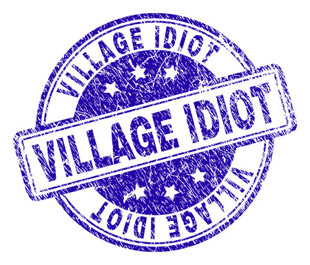 VILLAGE IDIOT stamp seal watermark with distress texture. Designed with rounded rectangles and circles. Blue vector rubber print of VILLAGE IDIOT tag with dust texture.
