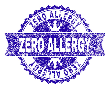 ZERO ALLERGY rosette seal imitation with distress style. Designed with round rosette, ribbon and small crowns. Blue vector rubber print of ZERO ALLERGY title with corroded style. Illustration