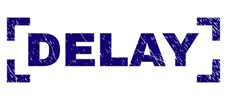 DELAY caption seal print with distress style. Text caption is placed between corners. Blue vector rubber print of DELAY with dirty texture. Archivio Fotografico - 125640377