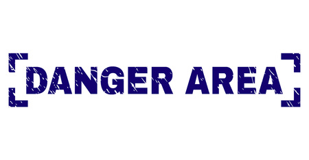 DANGER AREA caption seal watermark with corroded texture. Text caption is placed between corners. Blue vector rubber print of DANGER AREA with grunge texture.
