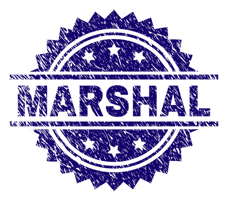 MARSHAL stamp seal watermark with distress style. Blue vector rubber print of MARSHAL title with scratched texture. Illustration