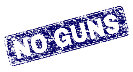 NO GUNS stamp seal watermark with grunge style. Seal shape is a rounded rectangle with frame. Blue vector rubber print of NO GUNS label with grunge style.