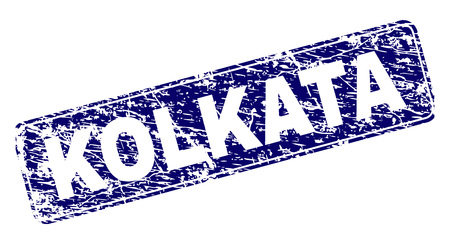 KOLKATA stamp seal print with distress style. Seal shape is a rounded rectangle with frame. Blue vector rubber print of KOLKATA title with corroded style.