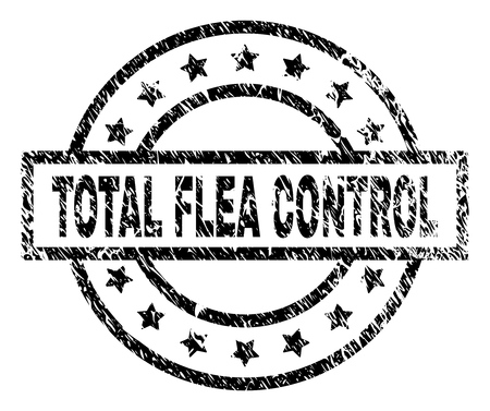 TOTAL FLEA CONTROL stamp seal watermark with distress style. Designed with rectangle, circles and stars. Black vector rubber print of TOTAL FLEA CONTROL label with retro texture.