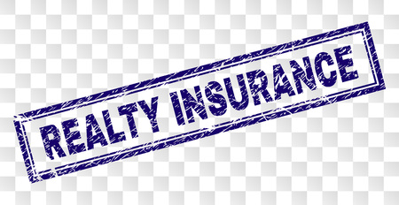 REALTY INSURANCE stamp seal print with rubber print style and double framed rectangle shape. Stamp is placed on a transparent background. Иллюстрация