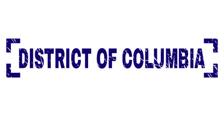 DISTRICT OF COLUMBIA text seal watermark with grunge texture. Text label is placed inside corners. Blue vector rubber print of DISTRICT OF COLUMBIA with grunge texture.
