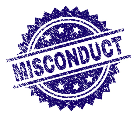 MISCONDUCT stamp seal watermark with distress style. Blue vector rubber print of MISCONDUCT label with dust texture.