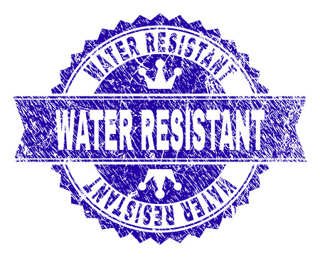 WATER RESISTANT rosette seal watermark with grunge style. Designed with round rosette, ribbon and small crowns. Blue vector rubber watermark of WATER RESISTANT caption with retro style.