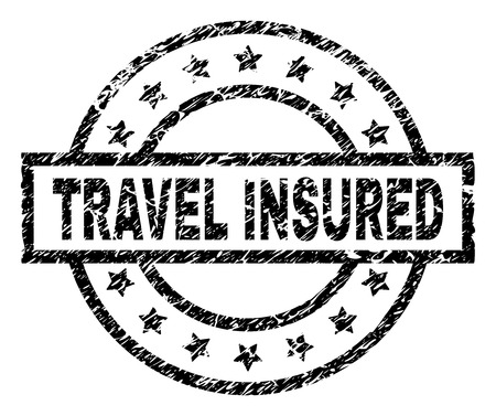 TRAVEL INSURED stamp seal watermark with distress style. Designed with rectangle, circles and stars. Black vector rubber print of TRAVEL INSURED text with unclean texture.