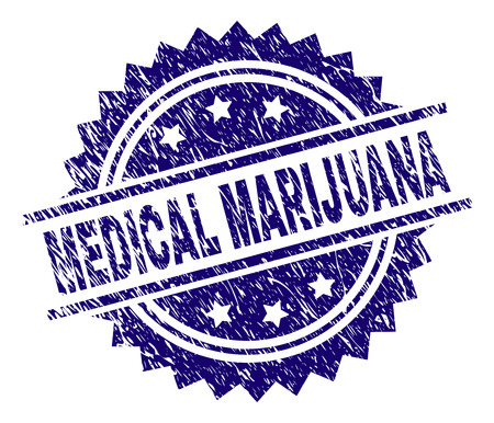 MEDICAL MARIJUANA stamp seal watermark with distress style. Blue vector rubber print of MEDICAL MARIJUANA tag with dirty texture.  イラスト・ベクター素材