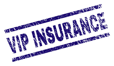 VIP INSURANCE seal print with scratced style. Blue vector rubber print of VIP INSURANCE text with retro texture. Text label is placed between parallel lines.