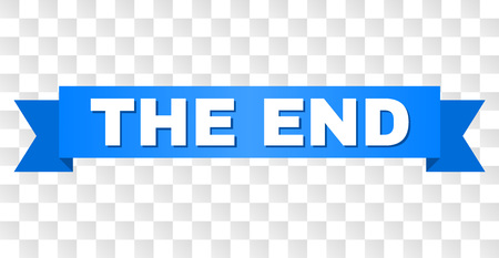 THE END text on a ribbon. Designed with white caption and blue tape. Vector banner with THE END tag on a transparent background.