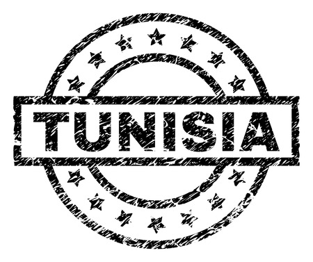TUNISIA stamp seal watermark with distress style. Designed with rectangle, circles and stars. Black vector rubber print of TUNISIA tag with scratched texture.