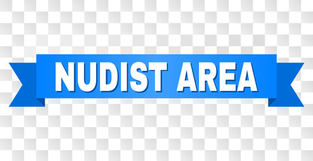 NUDIST AREA text on a ribbon. Designed with white title and blue stripe. Vector banner with NUDIST AREA tag on a transparent background.
