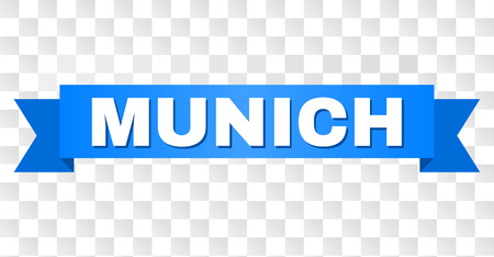 MUNICH text on a ribbon. Designed with white caption and blue stripe. Vector banner with MUNICH tag on a transparent background.