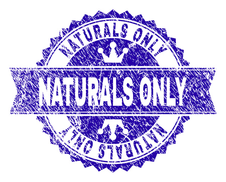 NATURALS ONLY rosette stamp seal watermark with grunge style. Designed with round rosette, ribbon and small crowns. Blue vector rubber watermark of NATURALS ONLY title with grunge style.