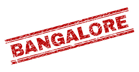 BANGALORE seal print with distress texture. Red vector rubber print of BANGALORE caption with dust texture. Text title is placed between double parallel lines.