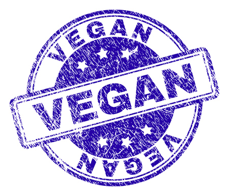 VEGAN stamp seal watermark with distress texture. Designed with rounded rectangles and circles. Blue vector rubber print of VEGAN text with dust texture.