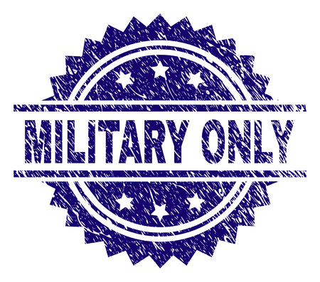 MILITARY ONLY stamp seal watermark with distress style. Blue vector rubber print of MILITARY ONLY label with corroded texture.