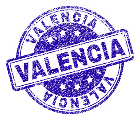 VALENCIA stamp seal imprint with grunge texture. Designed with rounded rectangles and circles. Blue vector rubber print of VALENCIA caption with dirty texture.