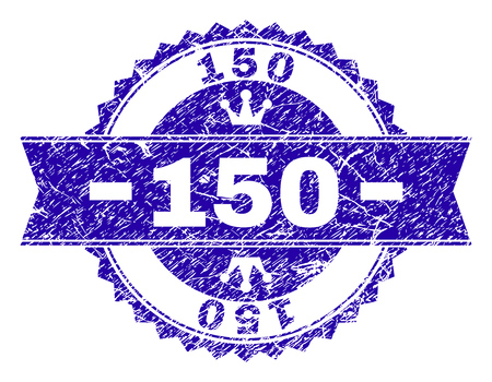 150 rosette stamp seal watermark with grunge texture. Designed with round rosette, ribbon and small crowns. Blue vector rubber watermark of 150 caption with scratched texture.