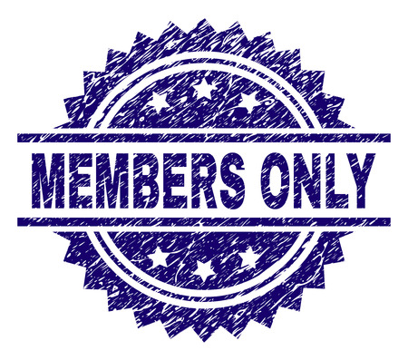 MEMBERS ONLY stamp seal watermark with distress style. Blue vector rubber print of MEMBERS ONLY text with corroded texture.