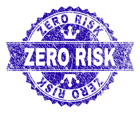 ZERO RISK rosette stamp seal watermark with grunge style. Designed with round rosette, ribbon and small crowns. Blue vector rubber watermark of ZERO RISK title with retro style.