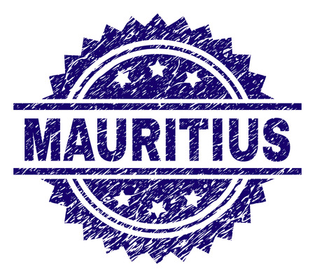 MAURITIUS stamp seal watermark with distress style. Blue vector rubber print of MAURITIUS text with retro texture.