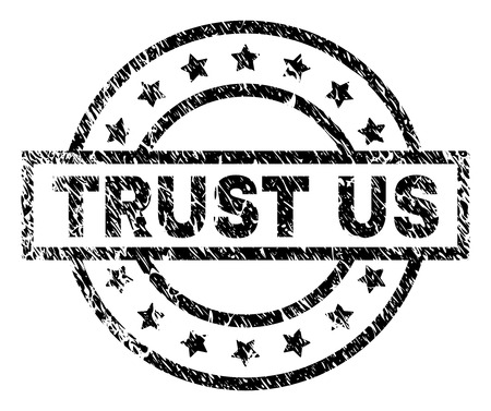 TRUST US stamp seal watermark with distress style. Designed with rectangle, circles and stars. Black vector rubber print of TRUST US caption with grunge texture. Illustration
