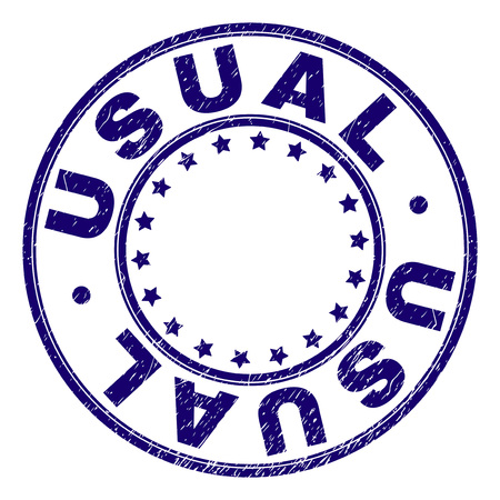 USUAL stamp seal watermark with distress texture. Designed with circles and stars. Blue vector rubber print of USUAL caption with corroded texture.