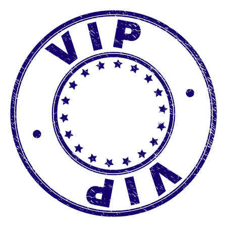 VIP stamp seal watermark with distress texture. Designed with round shapes and stars. Blue vector rubber print of VIP label with retro texture. 일러스트