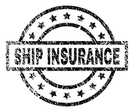 SHIP INSURANCE stamp seal watermark with distress style. Designed with rectangle, circles and stars. Black vector rubber print of SHIP INSURANCE label with corroded texture.