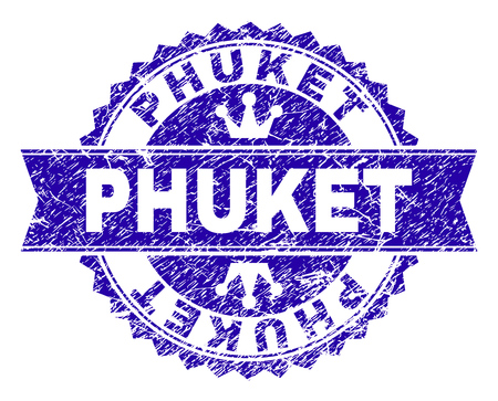 PHUKET rosette seal watermark with grunge style. Designed with round rosette, ribbon and small crowns. Blue vector rubber watermark of PHUKET tag with scratched texture.