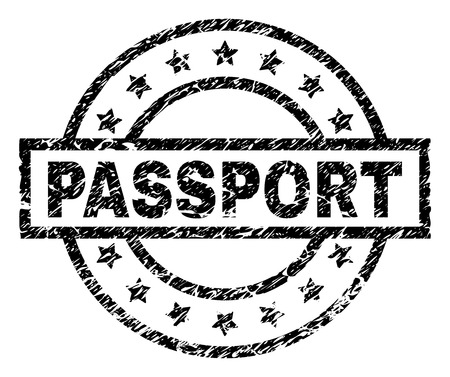 PASSPORT stamp seal watermark with distress style. Designed with rectangle, circles and stars. Black vector rubber print of PASSPORT title with unclean texture.