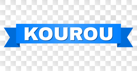 KOUROU text on a ribbon. Designed with white title and blue stripe. Vector banner with KOUROU tag on a transparent background. Çizim