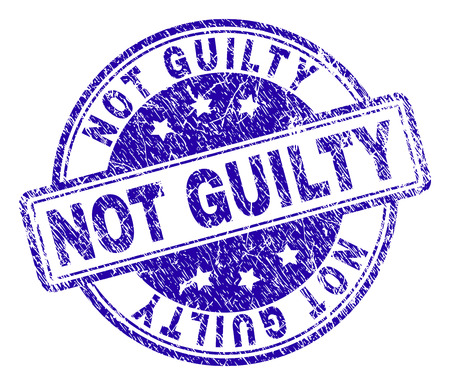 NOT GUILTY stamp seal imprint with grunge texture. Designed with rounded rectangles and circles. Blue vector rubber print of NOT GUILTY title with grunge texture. Illustration