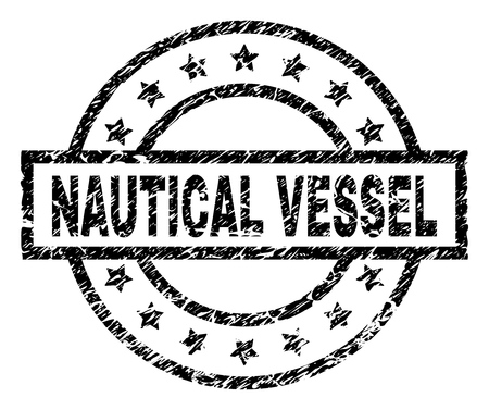 NAUTICAL VESSEL stamp seal watermark with distress style. Designed with rectangle, circles and stars. Black vector rubber print of NAUTICAL VESSEL tag with corroded texture.