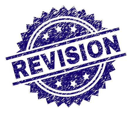 REVISION stamp seal watermark with distress style. Blue vector rubber print of REVISION title with unclean texture.