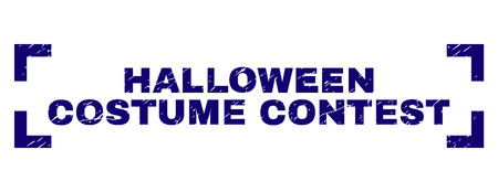HALLOWEEN COSTUME CONTEST text seal imprint with corroded texture. Text tag is placed inside corners. Blue vector rubber print of HALLOWEEN COSTUME CONTEST with dust texture.