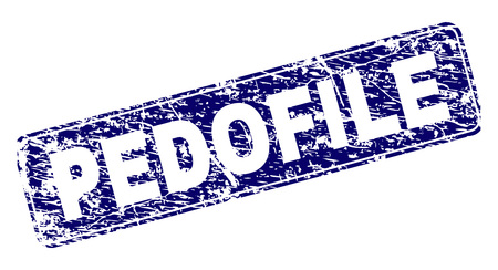 PEDOFILE stamp seal print with distress style. Seal shape is a rounded rectangle with frame. Blue vector rubber print of PEDOFILE tag with unclean style.