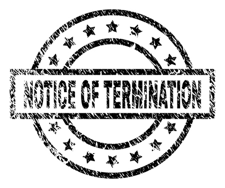 NOTICE OF TERMINATION stamp seal watermark with distress style. Designed with rectangle, circles and stars. Black vector rubber print of NOTICE OF TERMINATION title with grunge texture. Illustration
