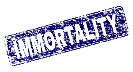 IMMORTALITY stamp seal print with distress style. Seal shape is a rounded rectangle with frame. Blue vector rubber print of IMMORTALITY tag with grunge style.