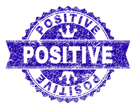 POSITIVE rosette seal imitation with grunge style. Designed with round rosette, ribbon and small crowns. Blue vector rubber watermark of POSITIVE title with dirty style. Иллюстрация