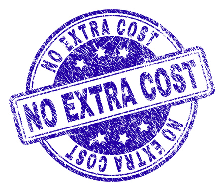 NO EXTRA COST stamp seal imprint with grunge effect. Designed with rounded rectangles and circles. Blue vector rubber print of NO EXTRA COST title with grunge texture.