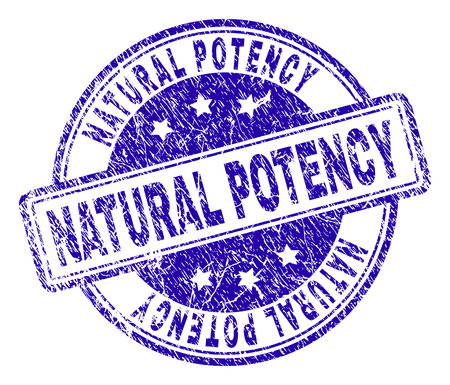 NATURAL POTENCY stamp seal imprint with grunge texture. Designed with rounded rectangles and circles. Blue vector rubber print of NATURAL POTENCY text with grunge texture.