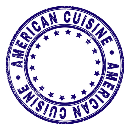 AMERICAN CUISINE stamp seal watermark with grunge texture. Designed with circles and stars. Blue vector rubber print of AMERICAN CUISINE label with grunge texture.