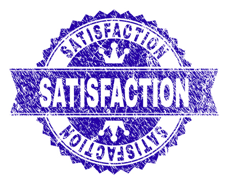 SATISFACTION rosette stamp seal overlay with grunge style. Designed with round rosette, ribbon and small crowns. Blue vector rubber watermark of SATISFACTION label with grunge style. Illustration