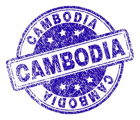 CAMBODIA stamp seal imprint with distress texture. Designed with rounded rectangles and circles. Blue vector rubber print of CAMBODIA text with retro texture.