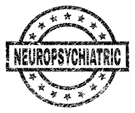NEUROPSYCHIATRIC stamp seal watermark with distress style. Designed with rectangle, circles and stars. Black vector rubber print of NEUROPSYCHIATRIC text with dirty texture.